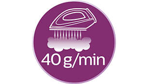 Steam output of up to 40 g/min for better crease removal