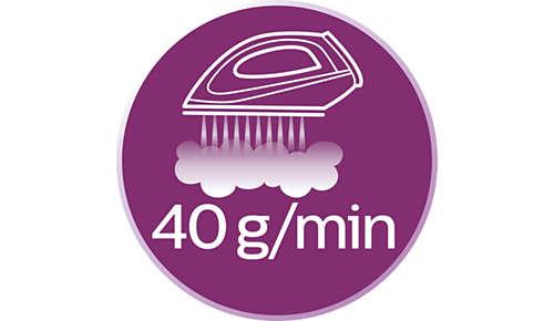 Débit vapeur jusqu'à 40g/min pour une meilleure élimination des faux plis