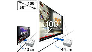 Flexible screen size — from 50 to 100""