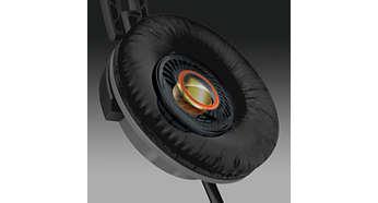 32-milimetrowy przetwornik głośnika gwarantuje potężny i dynamiczny dźwięk