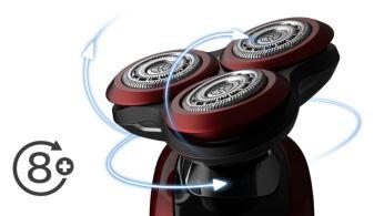 A borotvafejek 8 különböző irányba mozognak a kiváló eredmény érdekében