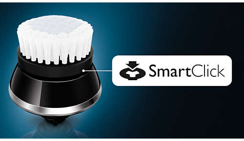 Click-on brush for thorough facial cleansing