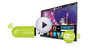 Compatible Wi-Fi: adaptateur en option pour une connexion à Internet