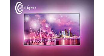 Čtyřstranná funkce Ambilight: představte si svůj televizor voparu světla