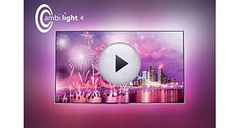 Ambilight 4 laturi: imaginaţi-vă televizorul dvs. plutind într-un halou de lumină