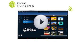 Cloud Explorer şi Dropbox™: partajaţi direct pe ecranul mare