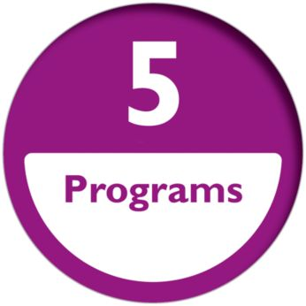 4 automatische programma's en 1 handmatig programma