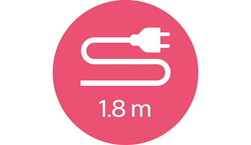 Przewód o długości 1,8m zapewnia maksymalną elastyczność