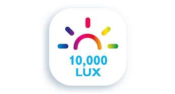 10.000 lux – zelfde intensiteit, helpt zoals natuurlijk daglicht