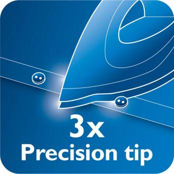 Vârf cu precizie triplă, pentru control şi vizibilitate optime