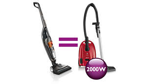 As powerful as a traditional 2000 W vacuum cleaner