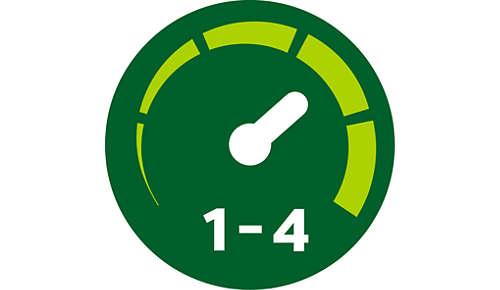4verschiedene Geschwindigkeiten mit beleuchtetem Anzeigering