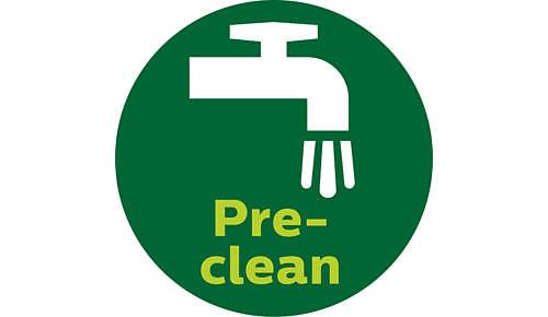 Rengøringsfunktionen skyller uønskede fibre væk