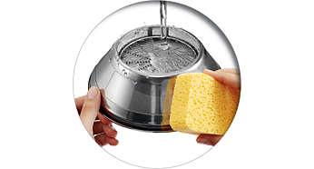 Éliminez facilement les fibres en essuyant le tamis lisse