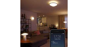 Ställ in lamporna så att de tänds eller släcks när du är borta