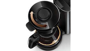 Regulator mocy kawy umożliwia parzenie kawy o różnej intensywności, od łagodnej po mocną