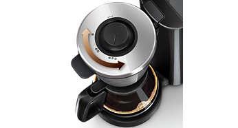 Styrkeknap til brygning af mild til stærk kaffe