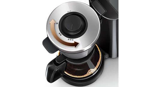 Hiermee kunt u een intensiteit kiezen van milde tot sterke koffie