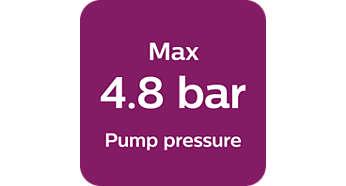 Pressão máxima do vapor de 4,8bar