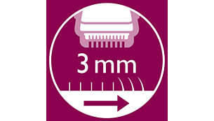 تم تضمين مشط النقر على الشعر لقص الشعر إلى 3 مم.