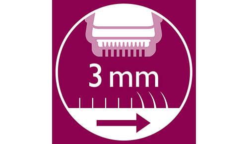 Inclusief opzetbare kam om het haar tot 3 mm lengte te trimmen.