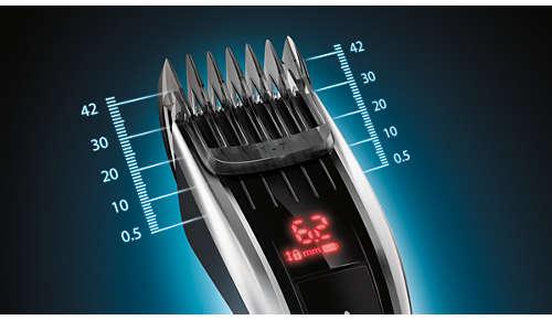 60 helposti valittavaa ja lukittavaa pituusasetusta: 0,5–42mm