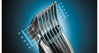 400 setări pentru lungime uşor de selectat şi blocat: 0,5 la 42 mm