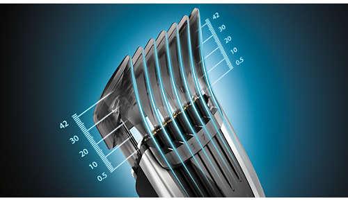 400 längdinställningar som är enkla att välja och låsa: 0,5 till 42mm
