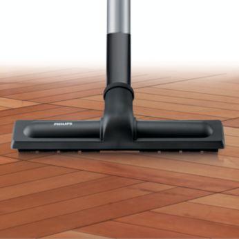 Накрайник за оптимално почистване върху всички твърди подови повърхности