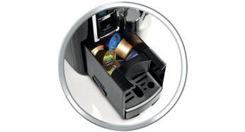 Автоматическое извлечение капсул во встроенный контейнер