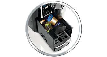 Automatické odstránenie použitej kapsule pomocou integrovaného priečinka