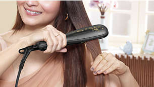 Extra wide plates for better results with thick or long hair