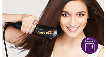 Pelat ekstra lebar untuk hasil yang lebih baik pada rambut tebal atau panjang