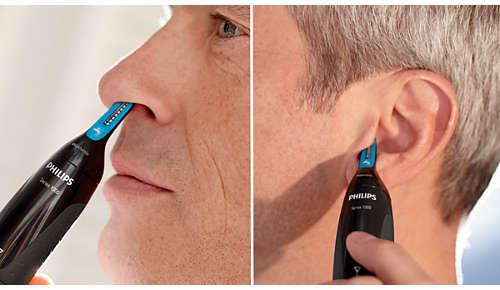Permet d'atteindre facilement les poils à l'intérieur du nez et des oreilles