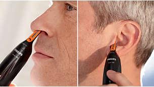 Easily reach hair inside the ear or nose