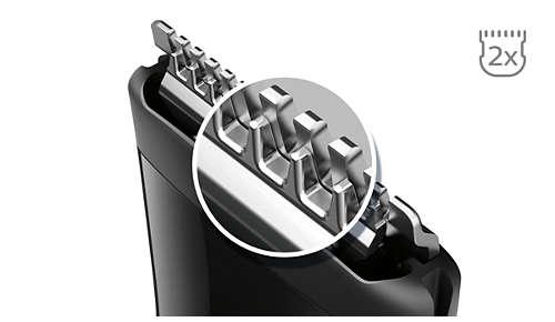 Des lames plus aiguisées* pour des contours impeccables avec la technologie DualCut