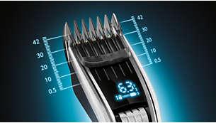 400 eenvoudig selecteerbare en vergrendelbare lengtestanden: 0,5 mm - 42 mm