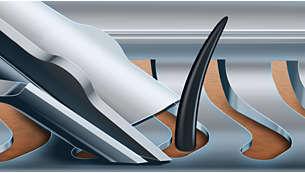 Guía el vello perfectamente para un afeitado al ras con las cuchillas V-Track