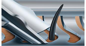 Лезвия V-Track идеально направляют волоски для гладкого бритья