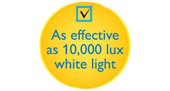 Aussi efficace que les lampes blanches à 10 000 lux beaucoup plus volumineuses