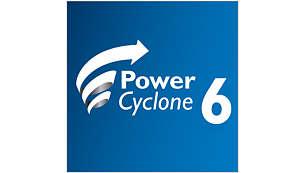 PowerCyclone 6 -tekniikka erottelee tehokkaasti pölyn ja ilman