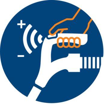 Элемент управления мощностью расположен на рукоятке— не нужно наклоняться для переключения режимов