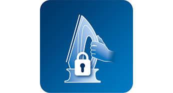 Blokada i możliwość przenoszenia umożliwia bezpieczne przechowywanie po zakończeniu prasowania