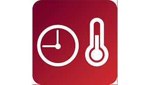 時間と温度を簡単に設定できるタッチパネル