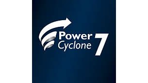 Der PowerCyclone7 behält länger eine starke Saugleistung