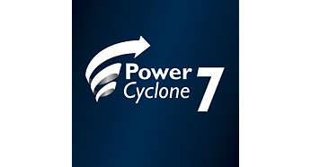 """""""PowerCyclone 7"""" išskirtinė siurbimo galia"""