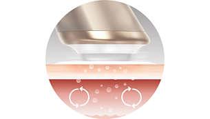 Vibration gently stimulates skin's micro-circulation