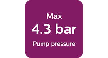 Fino a 4,3 bar di pressione della pompa