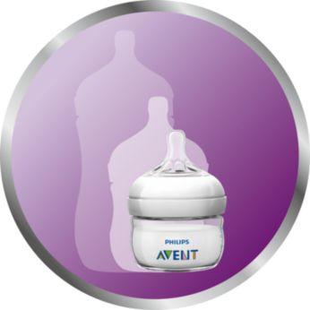 mniejsza butelka o pojemności 60ml zaprojektowana zmyślą o karmieniu noworodków