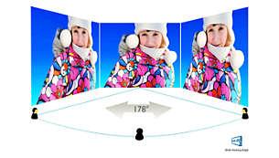 Technologia IPS-AHVA zapewnia szeroki kąt widzenia oraz dokładność odwzorowania obrazu i barw
